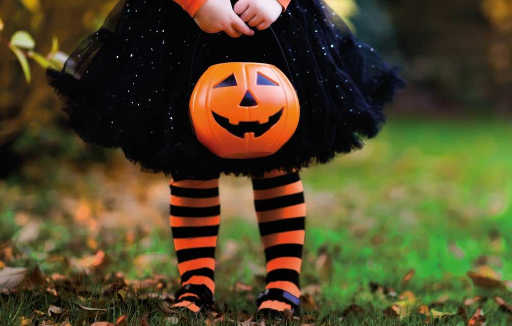 Girl holding halloween lantern